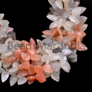 Multi Moonstone Carving Leaf Shape Beads, Multi Color Moonstone Leaf Shape Beads Side Drill, Mix Color Moonstone Carving Leaf Shape Beads | Natural genuine other-shape Gemstone beads for beading and jewelry making.  #jewelry #beads #beadedjewelry #diyjewelry #jewelrymaking #beadstore #beading #affiliate #ad