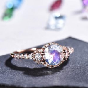 Vintage Moonstone Engagement Ring Rose Gold Women Diamond/Moissanite Wedding Ring Anniversary Floral Bridal Jewelry June Birthstone | Natural genuine Gemstone rings, simple unique alternative gemstone engagement rings. #rings #jewelry #bridal #wedding #jewelryaccessories #engagementrings #weddingideas #affiliate #ad