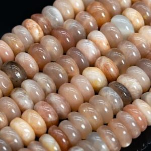 Shop Moonstone Rondelle Beads! Genuine Natural Orange Gray Moonstone Loose Beads India Grade A+ Rondelle Shape 8×2-4mm | Natural genuine rondelle Moonstone beads for beading and jewelry making.  #jewelry #beads #beadedjewelry #diyjewelry #jewelrymaking #beadstore #beading #affiliate #ad