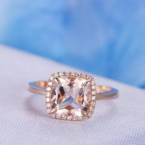 8mm Cushion Pink Morganite Engagement Ring 14k Plain Rose Gold Diamond Wedding Band Halo Claw Prongs Personalized for her/him Custom Ring | Natural genuine Array rings, simple unique alternative gemstone engagement rings. #rings #jewelry #bridal #wedding #jewelryaccessories #engagementrings #weddingideas #affiliate #ad