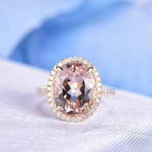 Morganite Engagement Ring 14k Yellow Gold 10x12mm Oval Pink Morganite Big Stone Diamond Wedding Band Diamond Halo Ring Personalized for her | Natural genuine Array rings, simple unique alternative gemstone engagement rings. #rings #jewelry #bridal #wedding #jewelryaccessories #engagementrings #weddingideas #affiliate #ad