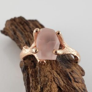 Shop Morganite Rings! Hand-Cut Matte Finish Morganite Twig Engagement Ring, 14k Rose Gold Gemstone Solitaire Ring, Engagement Ring by DV Designs | Natural genuine Morganite rings, simple unique alternative gemstone engagement rings. #rings #jewelry #bridal #wedding #jewelryaccessories #engagementrings #weddingideas #affiliate #ad