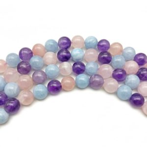 Shop Morganite Round Beads! 8mm Natural Mixed Color Morganite Beads, Round Gemstone Beads, Wholasela Beads | Natural genuine round Morganite beads for beading and jewelry making.  #jewelry #beads #beadedjewelry #diyjewelry #jewelrymaking #beadstore #beading #affiliate #ad