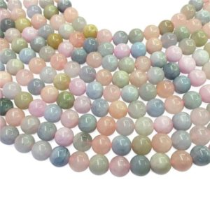 Shop Morganite Round Beads! 8mm Natural Multicolor Morganite Beads, Round Gemstone Beads, Wholasela Beads | Natural genuine round Morganite beads for beading and jewelry making.  #jewelry #beads #beadedjewelry #diyjewelry #jewelrymaking #beadstore #beading #affiliate #ad
