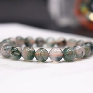 Natural Moss Agate beads Bracelet,Moss Agate Beaded Bracelet,Jewelry Gift Bracelet,wholesale bracelet,bulk bracelet supply | Natural genuine Gemstone jewelry. Buy crystal jewelry, handmade handcrafted artisan jewelry for women.  Unique handmade gift ideas. #jewelry #beadedjewelry #beadedjewelry #gift #shopping #handmadejewelry #fashion #style #product #jewelry #affiliate #ad