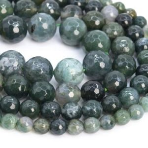 Shop Moss Agate Beads! Genuine Natural Botanical Moss Agate Loose Beads Micro Faceted Round Shape 6mm 8mm 10mm 12mm | Natural genuine beads Moss Agate beads for beading and jewelry making.  #jewelry #beads #beadedjewelry #diyjewelry #jewelrymaking #beadstore #beading #affiliate #ad