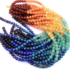 """Shop Chakra Beads! Natural Chakra Beads 6mm 8mm 10mm Round Gemstone Amethyst Lapis Apatite Green Aventurine Citrine Orange Aventurine Red Carnelian 16"""" Strand 