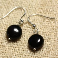 925 Sterling Silver Earrings – Obsidian Black Beads 10 Mm | Natural genuine Gemstone jewelry. Buy crystal jewelry, handmade handcrafted artisan jewelry for women.  Unique handmade gift ideas. #jewelry #beadedjewelry #beadedjewelry #gift #shopping #handmadejewelry #fashion #style #product #jewelry #affiliate #ad