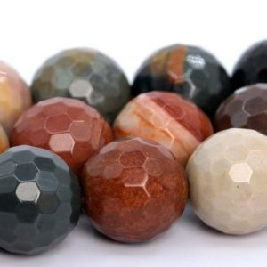 """Shop Ocean Jasper Faceted Beads! 10MM Ocean Jasper Beads AAA Genuine Natural Gemstone Full Strand Micro Faceted Round Loose Beads 15"""" Bulk Lot Options (105994-1802) 
