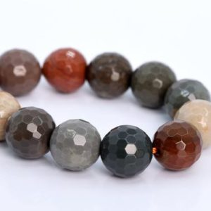 """Shop Ocean Jasper Faceted Beads! 10MM Ocean Jasper Beads AAA Genuine Natural Gemstone Half Strand Micro Faceted Round Loose Beads 7.5"""" Bulk Lot Options (105994h-1802) 