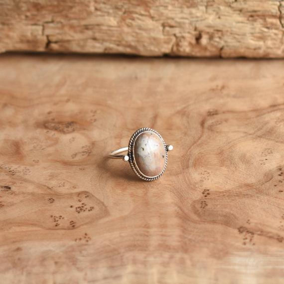 Ocean Jasper Ring -  Delica Ring - Choose Your Own Stone - Sterling Silver Ring
