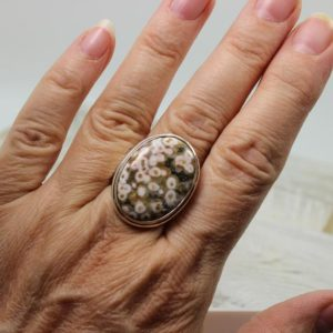 Shop Ocean Jasper Rings! Gorgeous…. Ocean jasper handmade 925e silver ring look like a field of daisies set on a solid sterling silver mount handmade by Mete | Natural genuine Ocean Jasper rings, simple unique handcrafted gemstone rings. #rings #jewelry #shopping #gift #handmade #fashion #style #affiliate #ad
