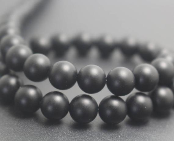 Natural Matte Black Onyx Beads,4mm/6mm/8mm/10mm/12mm Natural Smooth And Round  Beads,15 Inches One Starand