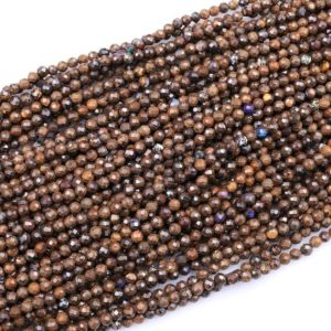 "Shop Opal Beads! Natural Australian Boulder Opal Faceted 3mm 4mm Round Beads 15.5"" Strand 