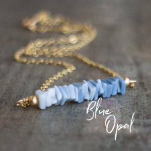 Shop Opal Necklaces! Blue Opal Ombre Bar Necklace, October Birthday Gifts for Her | Natural genuine Opal necklaces. Buy crystal jewelry, handmade handcrafted artisan jewelry for women.  Unique handmade gift ideas. #jewelry #beadednecklaces #beadedjewelry #gift #shopping #handmadejewelry #fashion #style #product #necklaces #affiliate #ad