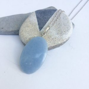Shop Angelite Pendants! Oval Celestite Silver pendant, Natural Celestite pendant, Oval celestite/ Angelite silver pendant, Throat chakra, Light blue, zen, gift | Natural genuine Angelite pendants. Buy crystal jewelry, handmade handcrafted artisan jewelry for women.  Unique handmade gift ideas. #jewelry #beadedpendants #beadedjewelry #gift #shopping #handmadejewelry #fashion #style #product #pendants #affiliate #ad