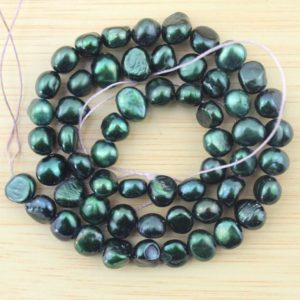 Shop Freshwater Pearls! Peacock green 6-7mm Baroque Pearl Beads,Freshwater nugget pearl Beads, Loose Pearls,DIY jewelry pearls,Gift for her–60Pcs-15 inches–FS86 | Natural genuine beads Pearl beads for beading and jewelry making.  #jewelry #beads #beadedjewelry #diyjewelry #jewelrymaking #beadstore #beading #affiliate #ad