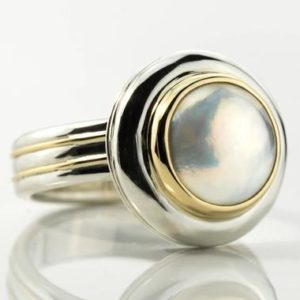 Shop Pearl Rings! Mabe pearl ring silver, Mabe pearl ring, silver pearl ring, silver white pearl ring, silver and gold ring Mobe pearl, cultured Japan pearl | Natural genuine Pearl rings, simple unique handcrafted gemstone rings. #rings #jewelry #shopping #gift #handmade #fashion #style #affiliate #ad