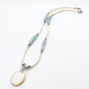 Shop Angelite Necklaces! Mermaid tail pendant necklace, Fresh pearl&Angelic gem with 925 sterling silver necklace,Bohemian beaded necklace for her | Natural genuine Angelite necklaces. Buy crystal jewelry, handmade handcrafted artisan jewelry for women.  Unique handmade gift ideas. #jewelry #beadednecklaces #beadedjewelry #gift #shopping #handmadejewelry #fashion #style #product #necklaces #affiliate #ad