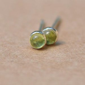 Peridot Earrings, Sterling Silver Studs. 3mm genuine cartledge piercing Peridot jewelry | Natural genuine Gemstone jewelry. Buy crystal jewelry, handmade handcrafted artisan jewelry for women.  Unique handmade gift ideas. #jewelry #beadedjewelry #beadedjewelry #gift #shopping #handmadejewelry #fashion #style #product #jewelry #affiliate #ad