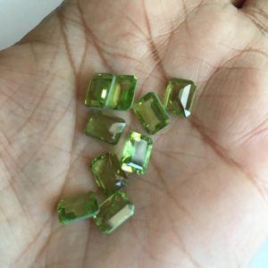 Shop Peridot Faceted Beads! 8 Pieces 8x6mm Peridot Emerald Cut Faceted Green Color Loose Gemstones SKU-P3 | Natural genuine faceted Peridot beads for beading and jewelry making.  #jewelry #beads #beadedjewelry #diyjewelry #jewelrymaking #beadstore #beading #affiliate #ad