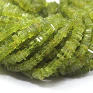 "Shop Peridot Bead Shapes! 16"" Long Best Quality Natural Peridot Gemstone, Smooth Heishi Beads, Peridot Square Beads, Size 4.5-5.5 MM Heishi Beads Smooth Peridot Beads 