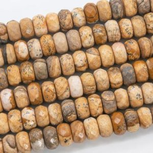 Shop Picture Jasper Faceted Beads! Genuine Natural Brown Picture Jasper Loose Beads Faceted Rondelle Shape 10x6MM | Natural genuine faceted Picture Jasper beads for beading and jewelry making.  #jewelry #beads #beadedjewelry #diyjewelry #jewelrymaking #beadstore #beading #affiliate #ad