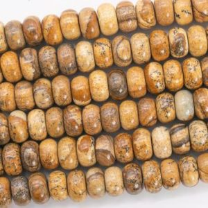 Shop Picture Jasper Rondelle Beads! Genuine Natural Brown Picture Jasper Loose Beads Rondelle Shape 10x6MM | Natural genuine rondelle Picture Jasper beads for beading and jewelry making.  #jewelry #beads #beadedjewelry #diyjewelry #jewelrymaking #beadstore #beading #affiliate #ad