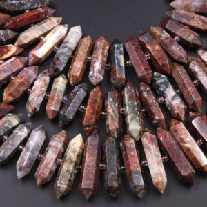 """Shop Pietersite Beads! Natural Pietersite Beads Faceted Double Terminated Pointed Tips Large Drilled Real Genuine Gemstone Focal Pendant 15.5"""" Strand 