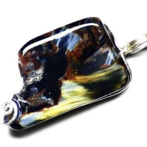 Shop Pietersite Pendants! Golden Silk Pietersite Necklace, Pietersite Pendant, Sterling Silver Pendant, Blue Pietersite Jewelry, Tumbled Cabochon Gift For Girlfriend | Natural genuine Pietersite pendants. Buy crystal jewelry, handmade handcrafted artisan jewelry for women.  Unique handmade gift ideas. #jewelry #beadedpendants #beadedjewelry #gift #shopping #handmadejewelry #fashion #style #product #pendants #affiliate #ad