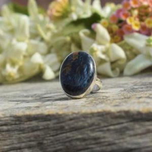 Shop Pietersite Rings! Beautiful Pietersite Ring, 925 Sterling Silver, Oval Gemstone, Natural Gemstone, Statement Ring, Blue Gemstone Ring, Split Band Ring, Sale | Natural genuine Pietersite rings, simple unique handcrafted gemstone rings. #rings #jewelry #shopping #gift #handmade #fashion #style #affiliate #ad