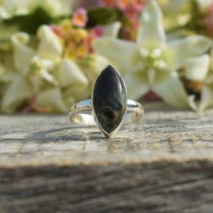 Shop Pietersite Rings! Dark Blue Pietersite Ring, 925 Sterling Silver, Marquise Gemstone Ring, Blue Gemstone, Simple Band Ring, Satement Ring, Bezel Set, Sale | Natural genuine Pietersite rings, simple unique handcrafted gemstone rings. #rings #jewelry #shopping #gift #handmade #fashion #style #affiliate #ad
