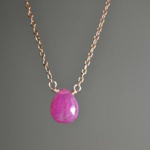 Shop Pink Sapphire Necklaces! Pink Sapphire Necklace in Sterling Silver, 14k Gold // September Birthstone // 5th Anniversary // Minimalist Sapphire // Sapphire Briolette   Natural genuine Pink Sapphire necklaces. Buy crystal jewelry, handmade handcrafted artisan jewelry for women.  Unique handmade gift ideas. #jewelry #beadednecklaces #beadedjewelry #gift #shopping #handmadejewelry #fashion #style #product #necklaces #affiliate #ad