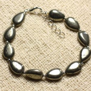 Shop Pyrite Bracelets! Bracelet 925 sterling silver and stone – Pyrite drops 12mm | Natural genuine Pyrite bracelets. Buy crystal jewelry, handmade handcrafted artisan jewelry for women.  Unique handmade gift ideas. #jewelry #beadedbracelets #beadedjewelry #gift #shopping #handmadejewelry #fashion #style #product #bracelets #affiliate #ad