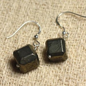 Shop Pyrite Earrings! 925 Sterling Silver earrings – Pyrite Cubes 10x10mm | Natural genuine Pyrite earrings. Buy crystal jewelry, handmade handcrafted artisan jewelry for women.  Unique handmade gift ideas. #jewelry #beadedearrings #beadedjewelry #gift #shopping #handmadejewelry #fashion #style #product #earrings #affiliate #ad