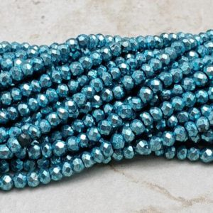 Shop Pyrite Faceted Beads! 3.5mm to 4mm Blue Pyrite Faceted Rondelles, 13 inch | Natural genuine faceted Pyrite beads for beading and jewelry making.  #jewelry #beads #beadedjewelry #diyjewelry #jewelrymaking #beadstore #beading #affiliate #ad