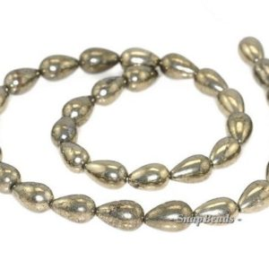 Shop Pyrite Bead Shapes! 12x8mm Palazzo Iron Pyrite Gemstone Teardrop 12x8mm Loose Beads 16 inch Full Strand (90145004-408) | Natural genuine other-shape Pyrite beads for beading and jewelry making.  #jewelry #beads #beadedjewelry #diyjewelry #jewelrymaking #beadstore #beading #affiliate #ad