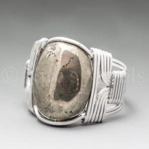 Pyrite Fools Gold Sterling Silver Wire Wrapped Gemstone Cabochon Ring – Optional Oxidation/Antiquing – Made to Order, Ships Fast! | Natural genuine Gemstone rings, simple unique handcrafted gemstone rings. #rings #jewelry #shopping #gift #handmade #fashion #style #affiliate #ad