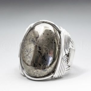 Shop Pyrite Rings! Pyrite Gemstone 18x25mm Cabochon Sterling Silver Wire Wrapped Ring -optional Oxidation / antiquing – Made To Order And Ships Fast! | Natural genuine Pyrite rings, simple unique handcrafted gemstone rings. #rings #jewelry #shopping #gift #handmade #fashion #style #affiliate #ad