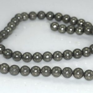 Shop Pyrite Round Beads! 6mm Pyrite Gemstone Grey Grade Ab Round Beads 15.5 Inch Full Strand (90187358-718) | Natural genuine round Pyrite beads for beading and jewelry making.  #jewelry #beads #beadedjewelry #diyjewelry #jewelrymaking #beadstore #beading #affiliate #ad