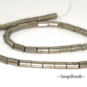 Shop Pyrite Round Beads! 6x4mm Palazzo Iron Pyrite Gemstone Round Tube 6x4mm Loose Beads 16 Inch Full Strand (90144962-405) | Natural genuine round Pyrite beads for beading and jewelry making.  #jewelry #beads #beadedjewelry #diyjewelry #jewelrymaking #beadstore #beading #affiliate #ad