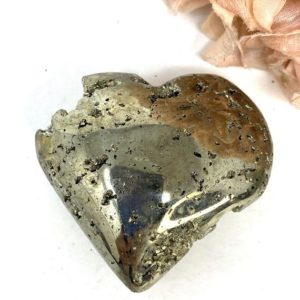 Shop Pyrite Shapes! Pyrite Puffy Heart | Fools Gold | Peru Palm Stone | Cd255 | Natural genuine stones & crystals in various shapes & sizes. Buy raw cut, tumbled, or polished gemstones for making jewelry or crystal healing energy vibration raising reiki stones. #crystals #gemstones #crystalhealing #crystalsandgemstones #energyhealing #affiliate #ad