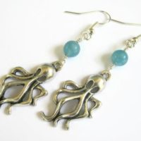 Octopus Earrings, Aqua Blue Sponge Quartz Earrings, Beach Jewelry, Ocean Kraken Earrings, Boho Earrings, Nautical Jewelry, Blue And Silver | Natural genuine Gemstone jewelry. Buy crystal jewelry, handmade handcrafted artisan jewelry for women.  Unique handmade gift ideas. #jewelry #beadedjewelry #beadedjewelry #gift #shopping #handmadejewelry #fashion #style #product #jewelry #affiliate #ad