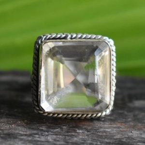 Shop Quartz Crystal Rings! 925 silver natural crystal quartz ring-crystal quartz ring-faceted crystal quartz ring-handmade ring-ring for women-design ring   Natural genuine Quartz rings, simple unique handcrafted gemstone rings. #rings #jewelry #shopping #gift #handmade #fashion #style #affiliate #ad