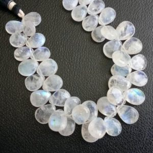 Shop Rainbow Moonstone Bead Shapes! 5x7mm Rainbow Moonstone Plain Pear Briolettes,  Rainbow Moonstone Plain Pear Beads, Rainbow Moonstone For Jewelry (20Pcs To 40Pcs Option) | Natural genuine other-shape Rainbow Moonstone beads for beading and jewelry making.  #jewelry #beads #beadedjewelry #diyjewelry #jewelrymaking #beadstore #beading #affiliate #ad