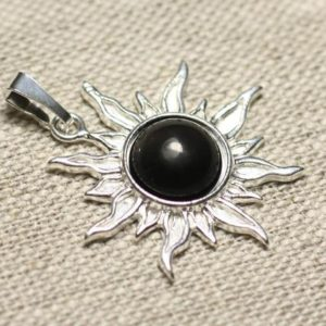 Shop Rainbow Obsidian Pendants! Pendant 925 sterling silver and stone – Sun 28 mm – black Rainbow Obsidian Rainbow 10mm round | Natural genuine Rainbow Obsidian pendants. Buy crystal jewelry, handmade handcrafted artisan jewelry for women.  Unique handmade gift ideas. #jewelry #beadedpendants #beadedjewelry #gift #shopping #handmadejewelry #fashion #style #product #pendants #affiliate #ad
