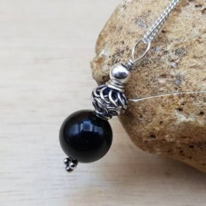 Shop Rainbow Obsidian Pendants! Rainbow Obsidian pendant. Bali silver. Reiki jewelry uk. Black semi precious stone 10mm | Natural genuine Rainbow Obsidian pendants. Buy crystal jewelry, handmade handcrafted artisan jewelry for women.  Unique handmade gift ideas. #jewelry #beadedpendants #beadedjewelry #gift #shopping #handmadejewelry #fashion #style #product #pendants #affiliate #ad