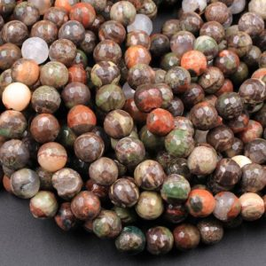 """Shop Rainforest Jasper Beads! Faceted Mushroom Jasper Rhyolite Round Beads 4mm 6mm 8mm 10mm 12mm 15.5"""" Strand 