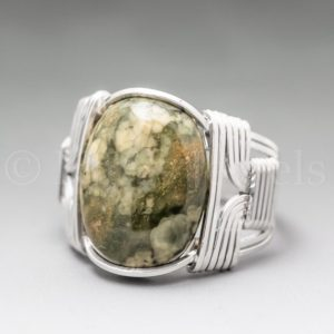 Shop Rainforest Jasper Jewelry! Rainforest Jasper Sterling Silver Wire Wrapped Gemstone Cabochon Ring – Optional Oxidation/Antiquing – Made to Order, Ships Fast! | Natural genuine Rainforest Jasper jewelry. Buy crystal jewelry, handmade handcrafted artisan jewelry for women.  Unique handmade gift ideas. #jewelry #beadedjewelry #beadedjewelry #gift #shopping #handmadejewelry #fashion #style #product #jewelry #affiliate #ad