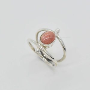 Shop Rhodochrosite Rings! Natural Rhodochrosite Ring | Handmade Silver Ring | 7x9mm Oval Rhodochrosite Ring | Women Rings | 925 Silver Rings | February Birthstone | Natural genuine Rhodochrosite rings, simple unique handcrafted gemstone rings. #rings #jewelry #shopping #gift #handmade #fashion #style #affiliate #ad